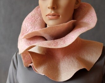 Handmade Felted Scarf collar neck warmer light brown and pink with felted brooch light brown flower  Ready to ship