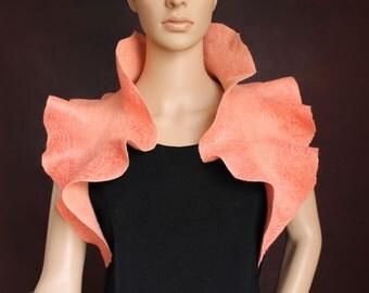 Handmade felted ruffle scarf - Peach Colour scarf - Scarf collar - Neck warmer - Ready to ship