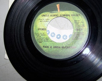 "Vintage 1970's 45 rpm Record ""Uncle Albert/Admiral Halsey"" By Paul and Linda McCartney"