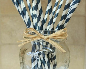 Navy Blue Straws pack of 25