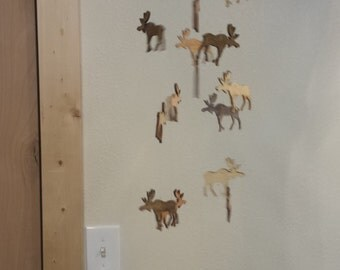 Wooden Moose Mobile with Small Moose