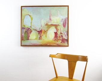 mid century modern painting,vintage modern landscape,modern art,LARGE,eames era,surrealist landscape with fox,oil painting,circa 1960
