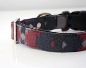 Southwestern Flannel Dog Collar - black, gray, wine red
