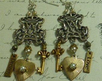Vintage Antique Assemblage Earrings  KEY to MY HEART filigree earrings