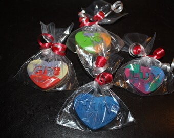 Recycled Crayons. Kids Crayons. Party Favors. Conversation Heart Crayons. Crayons. Valentines. Bagged Crayons. Rainbow Crayons.