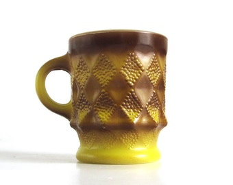 Fire King Kimberly Mug Gold Diamond Pattern Anchor Hocking Coffee Cup