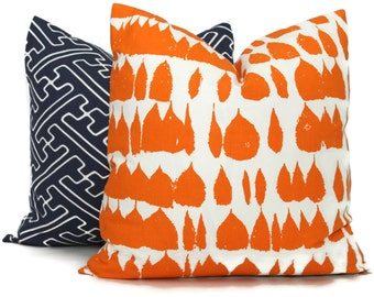 Schumacher Orange Queen of Spain Decorative Pillow Cover, Square, Eurosham, Lumbar pillow, Throw Pillow Accent Pillow Carrot Orange Pillow