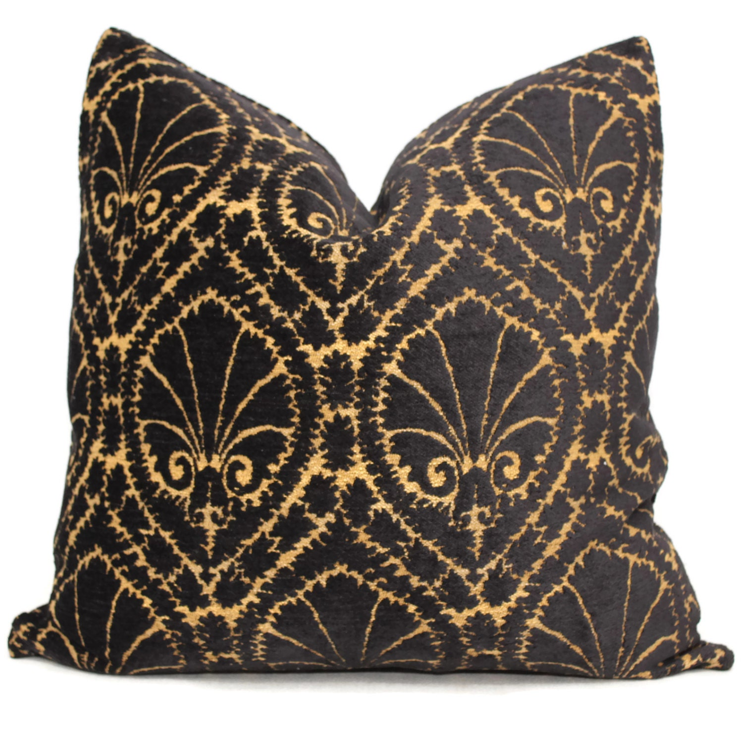 Decorative Pillow Cover Black and Gold Highland Court by PopOColor