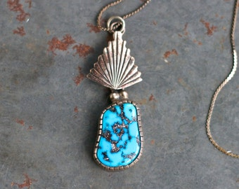 Turquoise Art Deco Necklace - Sterling Silver Pendant on Long Chain