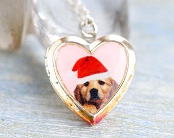 Santa Puppy Locket - Heart Necklace