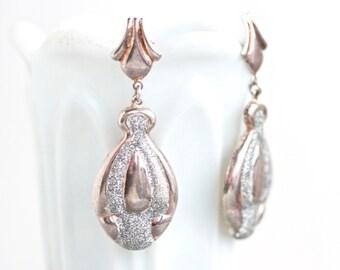 Sterling Silver Dangle Earrings - Vintage 80s Jewelry