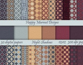 Patterned Paper Digital Scrapbooking Backgrounds Printable - 30 designs - 12x12 - 300 dpi - jpg - NIGHT SHADOWS