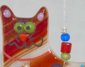 Fused glass multi color cat
