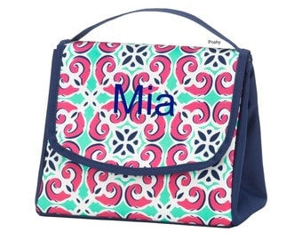 Personalized Kids Lunch box bag Girl monogram Mia Tile Print