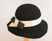 black wool felt hat, black cloche, Downton Abbey, Miss Fisher hat,  shul hat, 20s hat, black winter hat