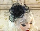 Black Wedding Fascinator with Birdcage Veil, Black Tea Party Hat, Kentucky Derby Hat - British Wedding Hat - fancy church hat