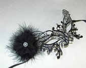 Black Metal Lace Masquerade Mask - Black lace Mask - Costume Ball - Venetian Mask - Party Mask Gothic Madquerade Mask
