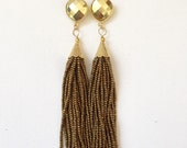 Gold Beaded Tassel Earrings with Pyrite Stud