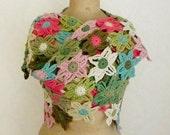 Flower scarf crochet triangle shawl crochet flower stole floral scarf