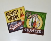 Beer Mug Rugs - Funny Beer Sayings Coasters - Retro Man Cave Decor - Beer Lover Gift - Christmas Gift for Him - Pale Ale - Bottles - Yellow