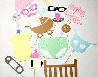 """Baby shower """"it's a girl"""" photo booth props"""