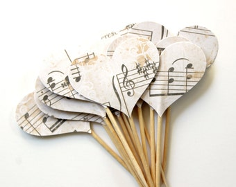 Elegant Musical Note Cupcake Toppers, Music Lovers, Heart Cake Toppers, Birthday Party, Set of 12