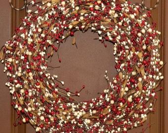 Christmas Wreath - Xmas Wreath - Berry Wreath - Red Wreath