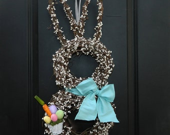 Easter Wreath - Bunny Wreath - Spring Wreath  - Choose Bow - Easter Basket-