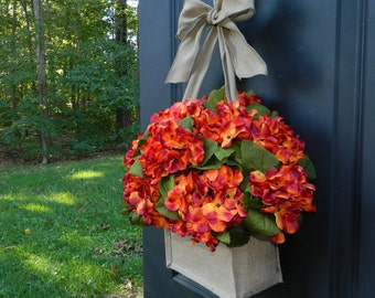 Hydrangea Wreath Choose Color - Fall Wreath - Orange Wreath - Burlap Wreath - Choose Color