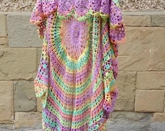 Crochet  Bohemian Vest, Multicolor Festival Vest, Boho Style Vest, Hippie Bolero, Crochet Circular Vest, Bohemian Waistcoat, Lace Vest