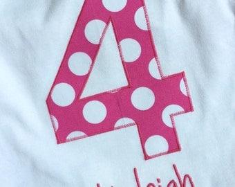 Custom name and number pink polka dots birthday shirt