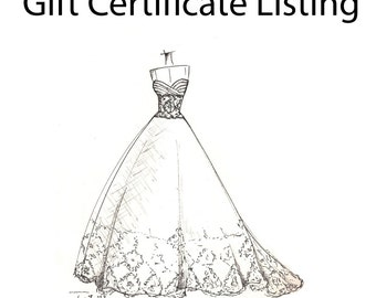 GIFT CERTIFICATE LISTING for a dress sketch - unique gift idea....