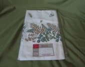 Vintage Tablecloth - New in Package - Agua and gold floral pattern - 52 inches square - Teal and Gold Tablecloth