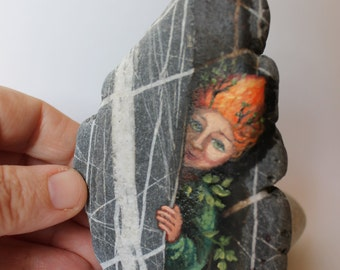 Painted stone. Ready to ship. Little elf , sprite of the forest painted pebble. Beach pebbles art. Free shipping