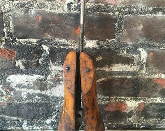 Vintage old wooden midcentury cobbler shoe form shoe stretcher decorative shabby chic rustic