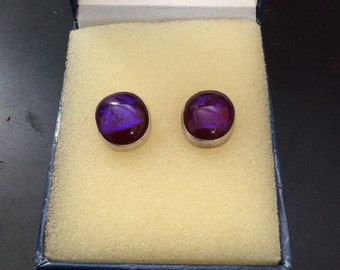 Vintage Purple Glass Oval Earrings