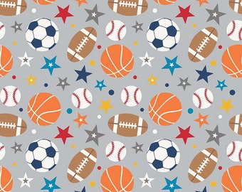 LAMINATED cotton fabric (similar to oilcloth) by the yard - Play Ball sports on gray - EXCLUSIVE- Approved for children - football soccer
