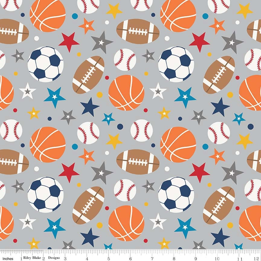 Laminated cotton fabric by the yard play ball sports on gray for Grey childrens fabric
