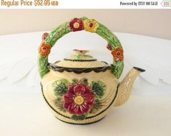 SaLe Vintage Majolica Flower Teapot Maruhon Ware Japan 1920s