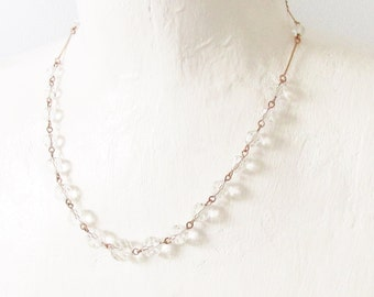 Vintage Crystal Beaded Gold Filled Chain Necklace