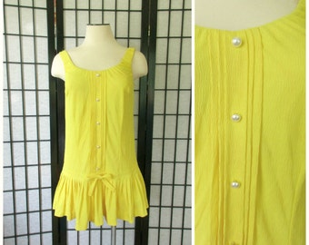 Vintage Bathing Suit by Catalina of California 1960s 1970s Bright Lemon Yellow Swimwear M L Skirt with Bow Label Size 10 Faux Pearl Buttons