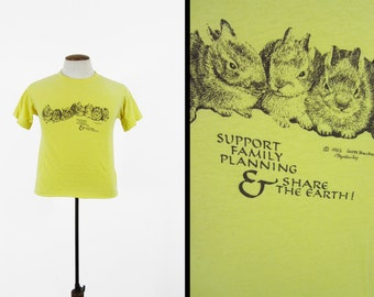 Vintage 70s Planned Parenthood T-shirt Family Planning Like Bunnies - Small / Medium