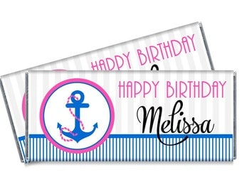 Girls Nautical Candy Bar Wrappers - Girls Personalized Nautical Birthday Party Favors - Set of 12
