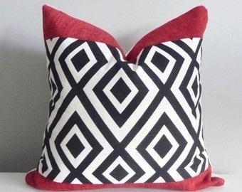 Black and White Geometric Pillow Cover,Richloom Dixon,Diamond,Trellis,Designer Throw Pillow