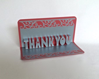 THANK YOU 3D Pop Up Greeting Appreciation Card in Metallic Silver on Metallic Red Home Décor Handmade Original Design One Of A Kind