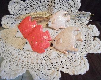 4 Tropical Fish Shaped-Glazed Ceramic Macrame Beads-Handcrafted-Oranges-Firecracker & Pumpkin Spice-A32