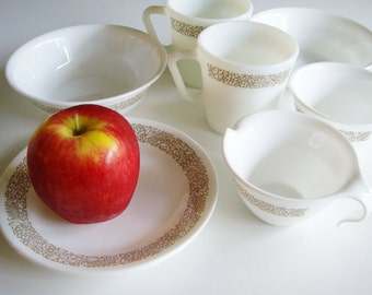 Vintage Corelle, Woodlands, Corning, Dishes for 2, Pyrex Mug, Cream Sugar, Side Plate, Bowl, Brown Flowers, Gift under 40, 8 piece, Dish set