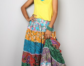 Patchwork Skirt / Maxi skirt : Boho Patchwork Collection No.1