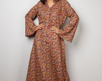 Boho Dress / Paisley Dress / Modest Long Maxi Dress with Paisley Print : Bohemian Soul Collection No.1