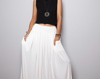 Maxi Skirt - Off White Skirt-  Long White Skirt : Urban Chic Collection No.2